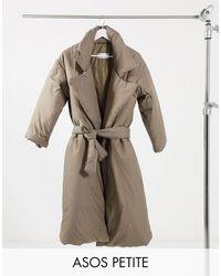 ASOS Asos Design Petite Puffer Maxi Coat With Belt - Brown