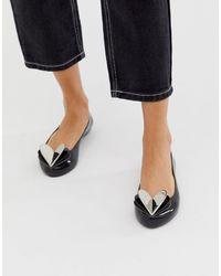 Zaxy Valentines Heart Flat Shoes - Black