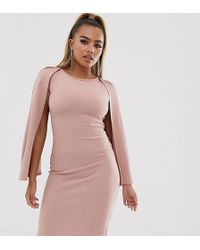 Boohoo Bodycon Midi Dress With Cape Sleeves In Pink