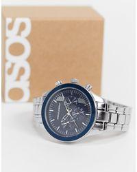 ASOS Bracelet Watch With Navy Face - Metallic