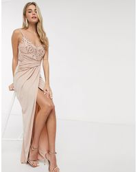 Lipsy X Abbey Clancy Lace Top Slinky Ruched Maxi Dress - Pink