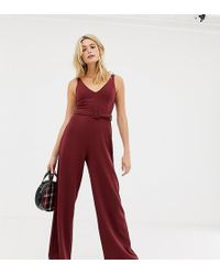 New Look - Belted Jumpsuit In Burgundy - Lyst