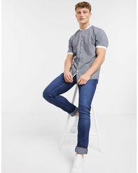 River Island - Camisa de baseball azul marino de manga corta con detalle de rayas de - Lyst