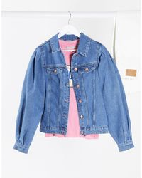 Pieces Denim Jacket With Puff Sleeves - Blue