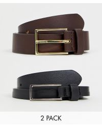 ASOS - 2 Pack Faux Leather Smart Slim Belt In Black And Brown Save - Lyst