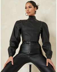Missguided Co-ord Coated Denim High Neck Top With Puff Sleeves - Black