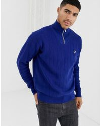 Fred Perry Half Zip Knitted Jumper In Blue