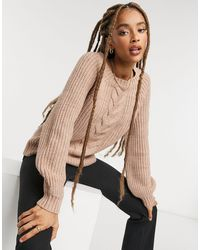 ONLY – Strickpullover mit Zopfmuster - Pink