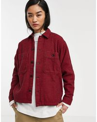 Carhartt WIP Hounds Tooth Print Shacket - Red