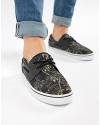 ASOS Boat Shoes In Black Floral Holiday Print