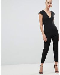 Vesper - Plunge Front Fitted Jumpsuit In Black - Lyst
