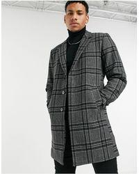 Jack & Jones Серое Пальто В Клетку Premium-серый