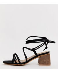 14ae7144e37 ASOS Take Charge Tie Leg Heeled Sandals in Pink - Lyst
