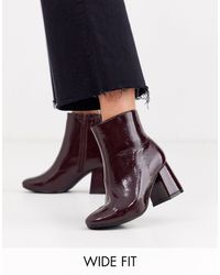 New Look Patent Square Toe Boot - Red