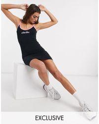 Ellesse Cami Bodycon Mini Dress With Rainbow Fade Logo-black