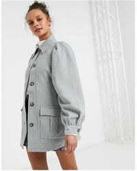 Monki Nina Recycled Wool Belted Jacket - Gray