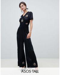 ASOS Asos Design - Tall - Tea Jumpsuit Met Versiering En Kanten Inzetstukken - Zwart