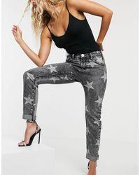 One Teaspoon Jeans comodi a vita medio alta con stampa di stelle - Multicolore