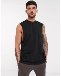 ASOS Organic Relaxed Sleeveless T-shirt With Dropped Armhole - Black