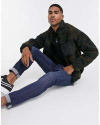 Brave Soul Camo Borg Zip-through Jacket With Mixed Panel-green
