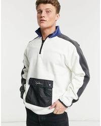 TOPMAN Signature 1/4 Zip Fleece - Multicolor