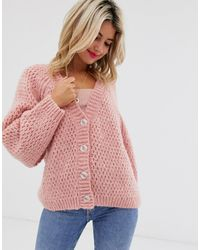ASOS Waffle Stitch Cardigan With Volume Sleeve - Pink