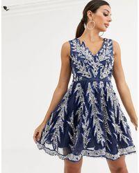 A Star Is Born Embellished V Front Skater Dress - Blue