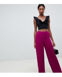 Missguided Wide Leg Trouser In Purple