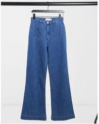 & Other Stories Jean évasé taille haute en coton biologique - Bleu