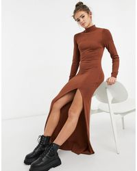 Girl In Mind Knitted High Neck Maxi Dress With Thigh Split In Rust - Orange