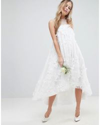 3466a21a18 ASOS Bridal Lace Sweetheart Tutu Midi Dress in White - Lyst