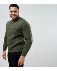 ASOS - Asos Plus Cable Knit Jumper In Khaki - Lyst