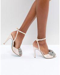 Betsey Johnson - Blue By Betsy Johnson Satin Heidi Bow Heeled Wedding Sandals - Lyst