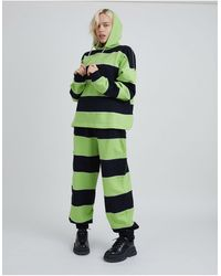 The Ragged Priest Relaxed sweatpants With Chain Drawstring And Overlocking - Green