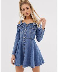 Miss Sixty Vestito di jeans svasato con spalle scoperte e bottoni - Blu