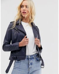 Barneys Originals Barney's Originals Coloured Leather Biker Jacket In Navy - Blue