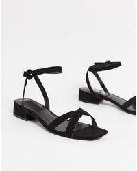 Mango Cross Strap Sandals - Black