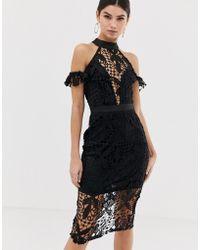 5f39b133efc Girl In Mind - High Neck Cold Shoulder Midi Dress - Lyst