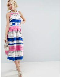 ASOS Spot Pinny Jacquard Prom Dress - Blue