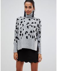 Liquorish - High Neck Leopard Sweater With Zip In The Back - Lyst