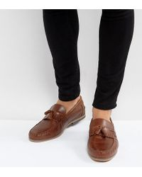 ASOS | Wide Fit Tassel Loafers In Tan Leather With Fringe And Natural Sole | Lyst