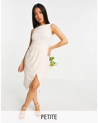 TFNC London Bridesmaid Cowl Back Midi Dress With Split - White