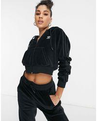 """adidas Originals - Велюровый Худи Черного Цвета На Молнии """"relaxed Risqué""""-черный Цвет - Lyst"""