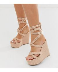 ASOS Wide Fit Will Power Rope Wedges In Rose Gold - Natural