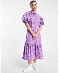 Vila Платье-рубашка Миди С Пышными Рукавами И Цветочным Принтом -фиолетовый Цвет - Пурпурный
