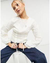 TOPSHOP Блузка Цвета Слоновой Кости С Присборенной Талией И Корсетной Отделкой -белый - Многоцветный