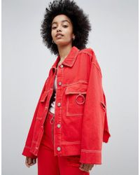 Bershka - Denim Jacket With Ring Detail And Distressing - Lyst