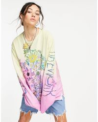 Weekday Chicory Organic Cotton Long Sleeve Oversized Top With Floral Print - Multicolour