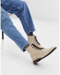 ASOS Светло-бежевые Ботинки-броги С Натуральной Подошвой - Многоцветный