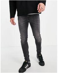 Calvin Klein Черные Выбеленные Супероблегающие Джинсы -черный